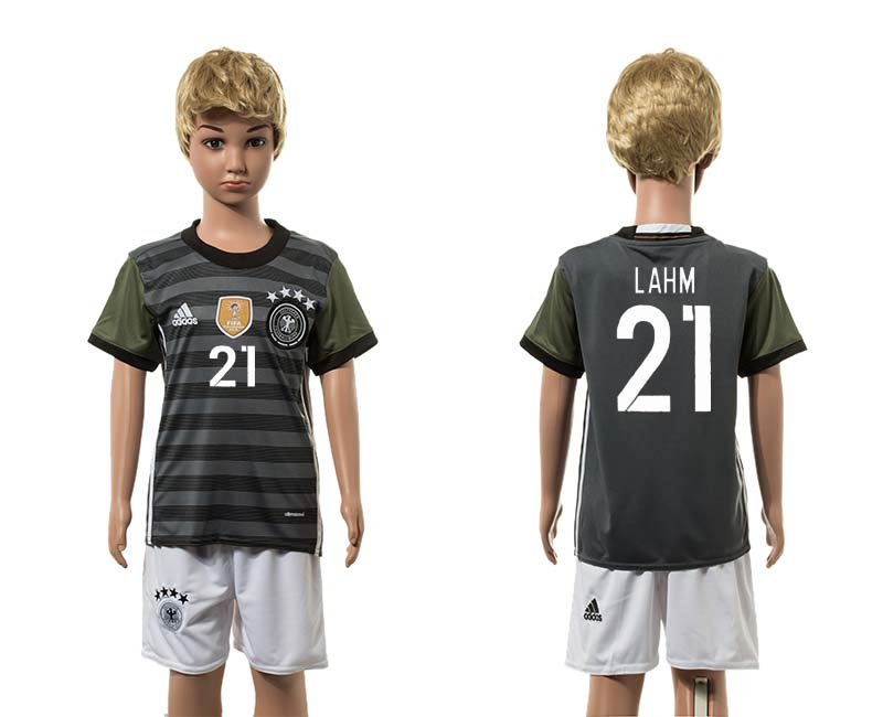 European Cup 2016 Germany away 21 Lahm grey kids soccer jerseys