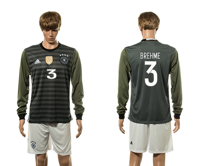 European Cup 2016 Germany away 3 Brehme long sleeve soccer jerseys
