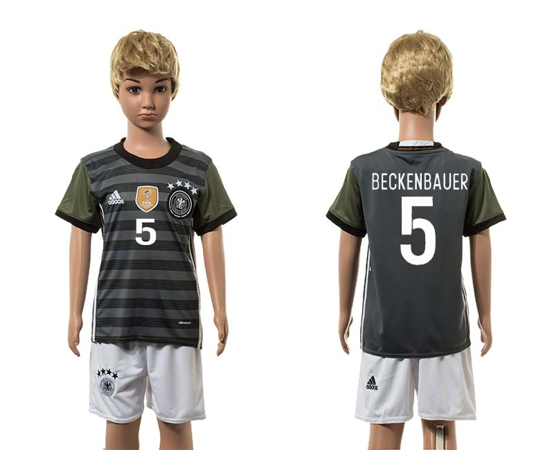 European Cup 2016 Germany away 5 Beckenbauer grey kids soccer jerseys