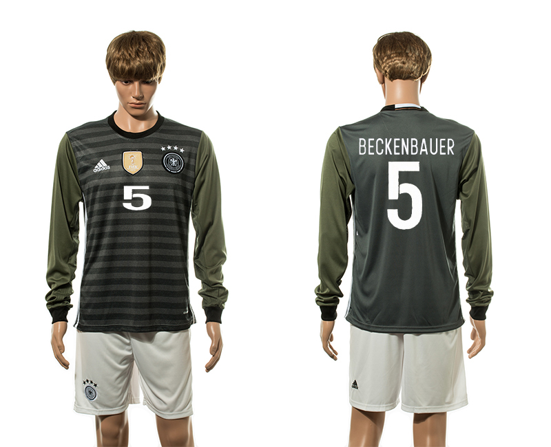 European Cup 2016 Germany away 5 Beckenbauer long sleeve soccer jerseys