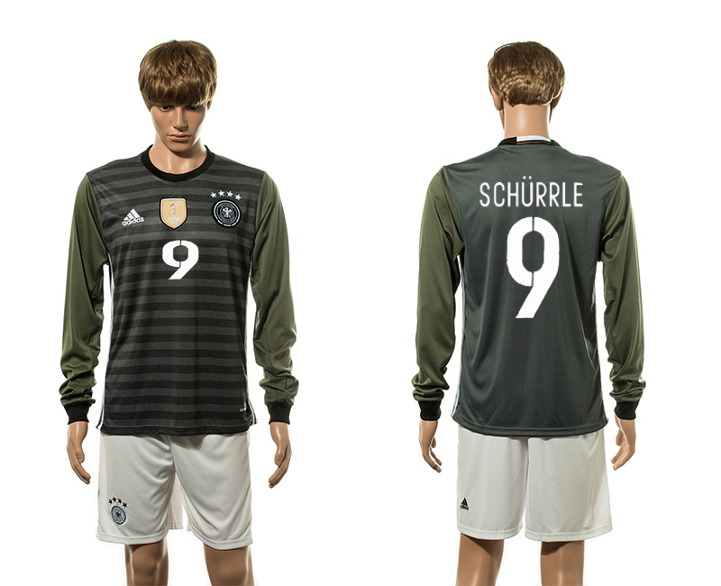 European Cup 2016 Germany away 9 Shurrle long sleeve soccer jerseys