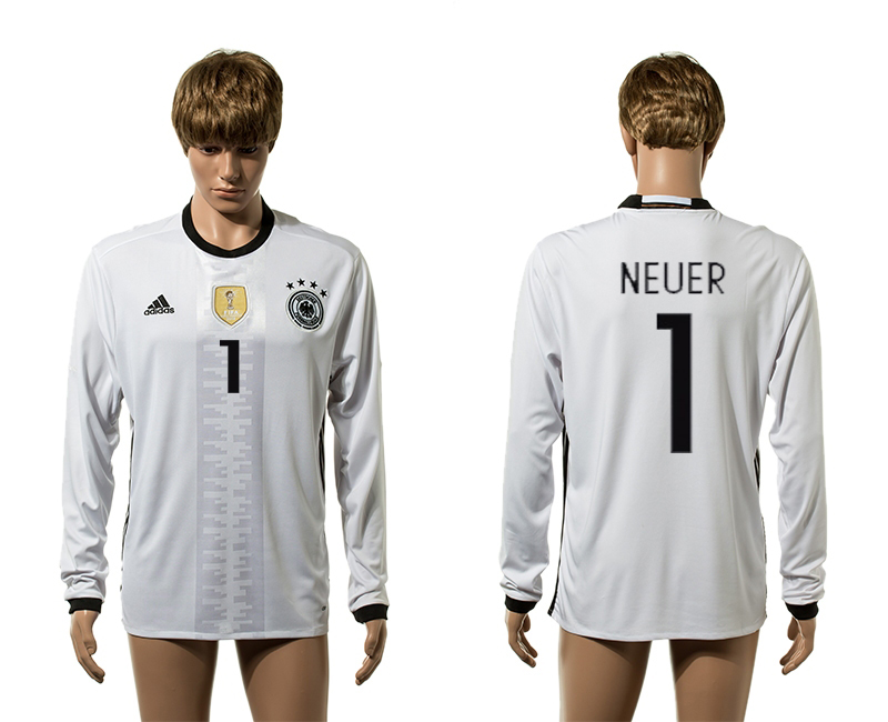 European Cup 2016 Germany home 1 Neuer white long sleeve AAA+ soccer jerseys