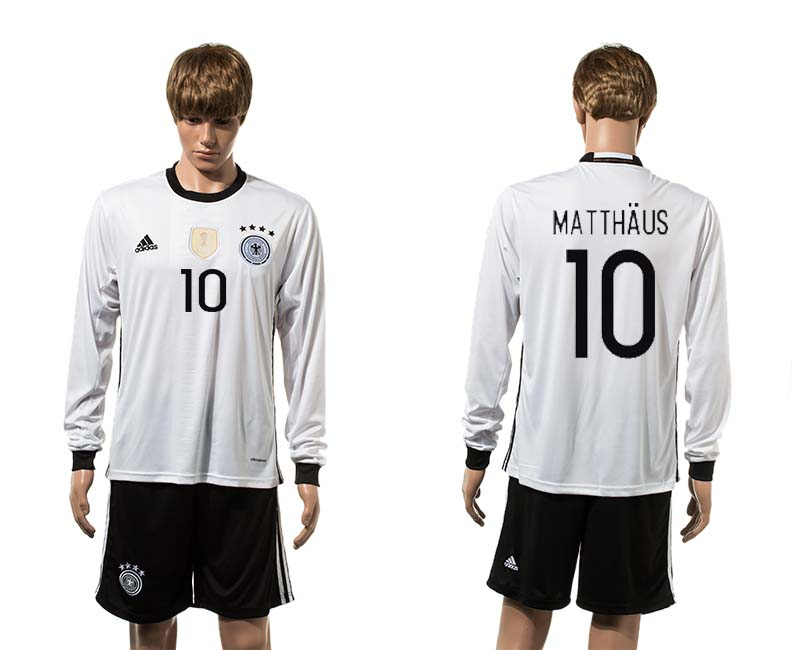 European Cup 2016 Germany home 10 Matthaus white long sleeve soccer jerseys