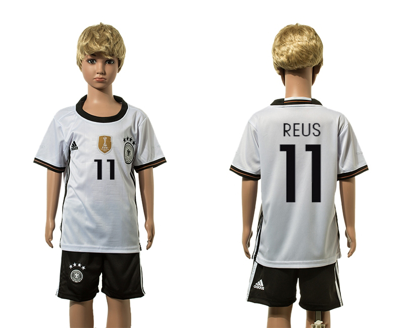 European Cup 2016 Germany home 11 Reus white kids soccer jerseys