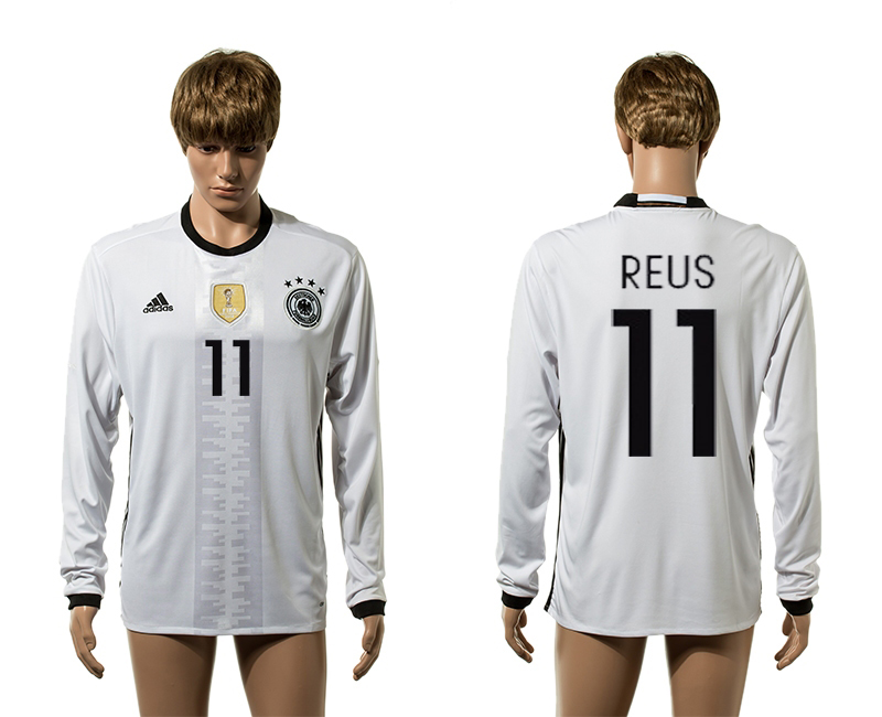 European Cup 2016 Germany home 11 Reus white long sleeve AAA+ soccer jerseys