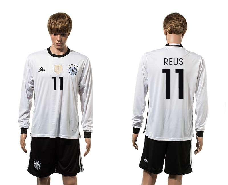 European Cup 2016 Germany home 11 Reus white long sleeve soccer jerseys
