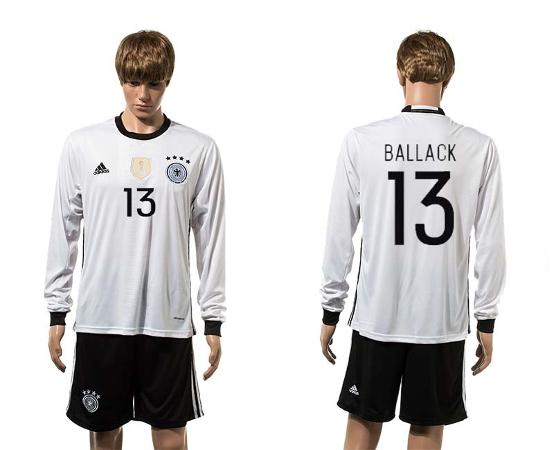European Cup 2016 Germany home 13 Ballack white long sleeve soccer jerseys