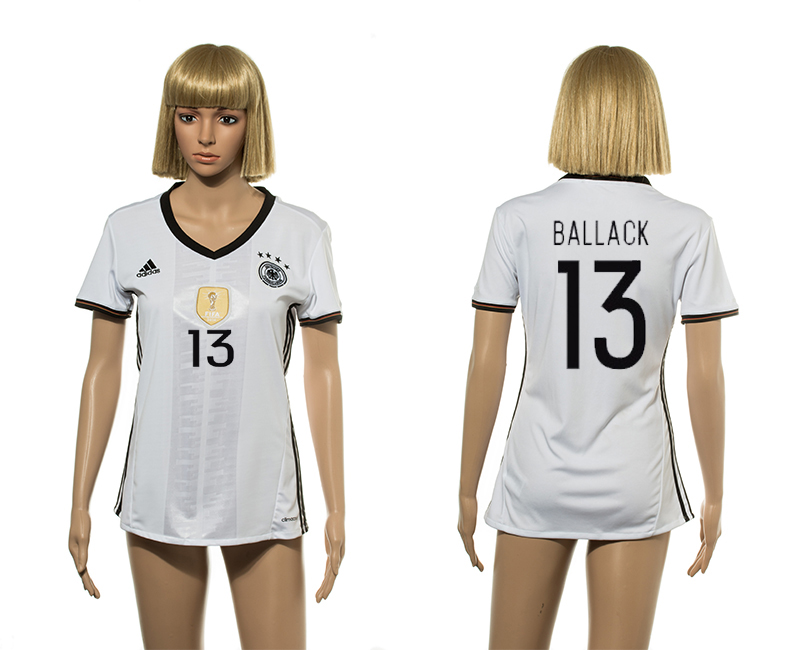 European Cup 2016 Germany home 13 Ballack white women soccer jerseys