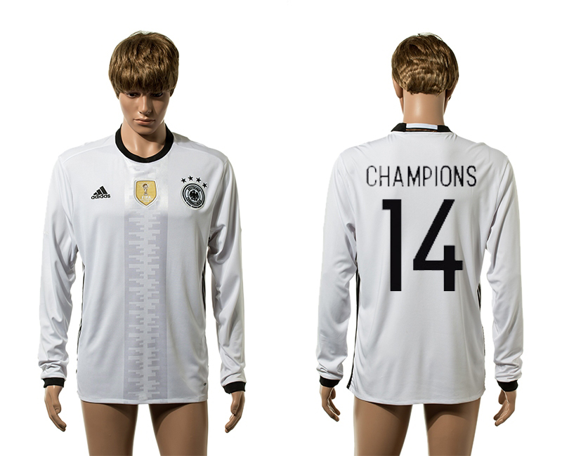 European Cup 2016 Germany home 14 Champions white long sleeve AAA+ soccer jerseys