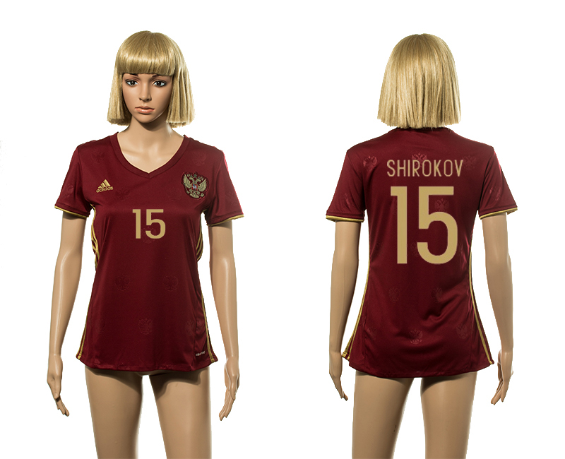European Cup 2016 Germany home 15 Shirokov red Women socer jerseys