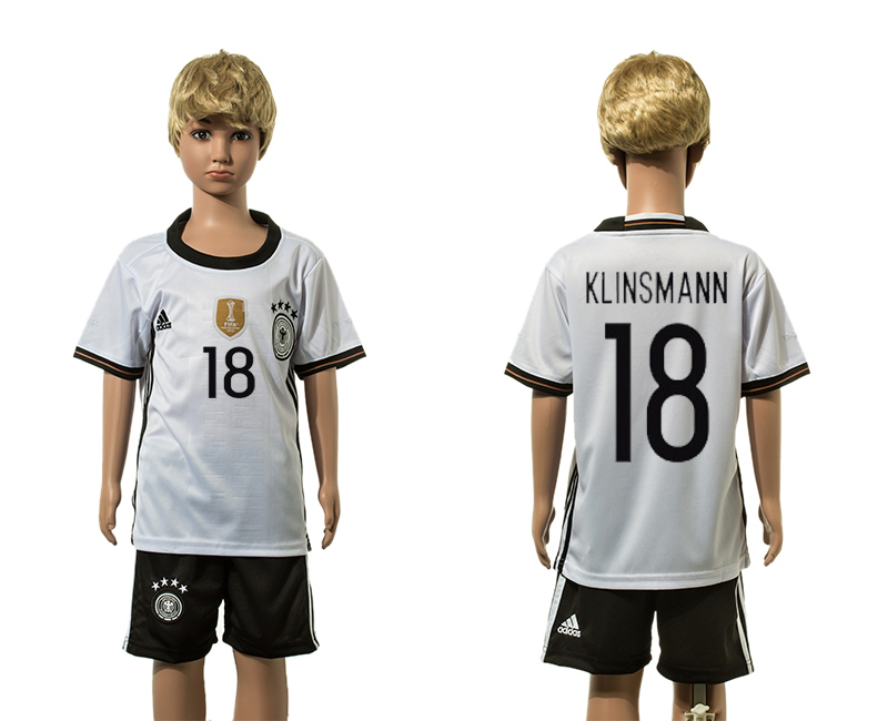 European Cup 2016 Germany home 18 Klinsmann white kids soccer jerseys
