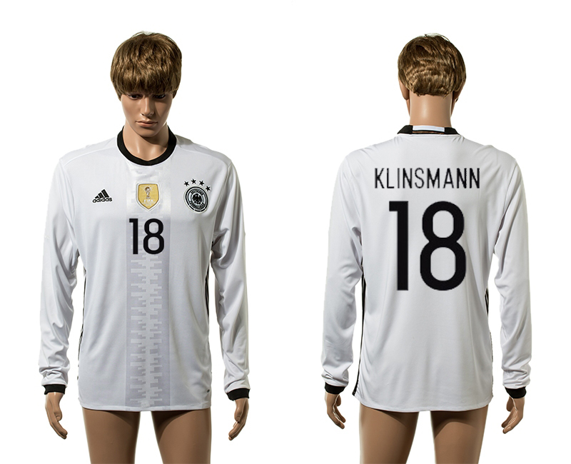 European Cup 2016 Germany home 18 Klinsmann white long sleeve AAA+ soccer jerseys