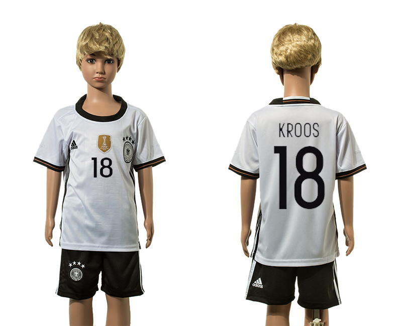European Cup 2016 Germany home 18 Kroos white kids soccer jerseys