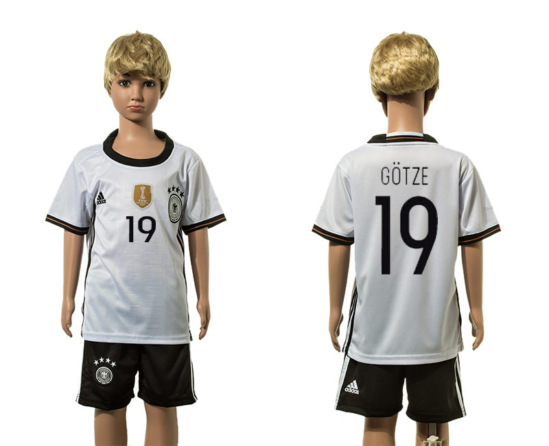European Cup 2016 Germany home 19 Gotze white kids soccer jerseys