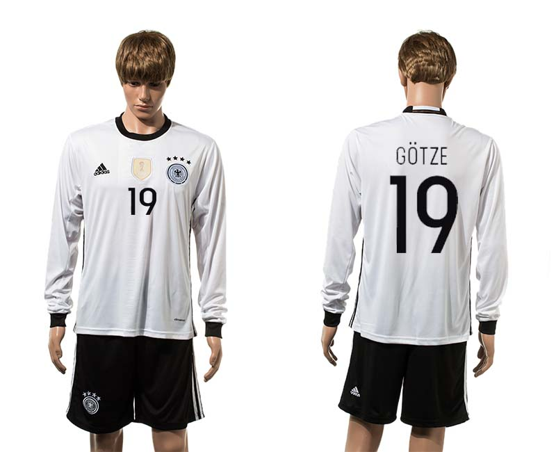 European Cup 2016 Germany home 19 Gotze white long sleeve soccer jerseys
