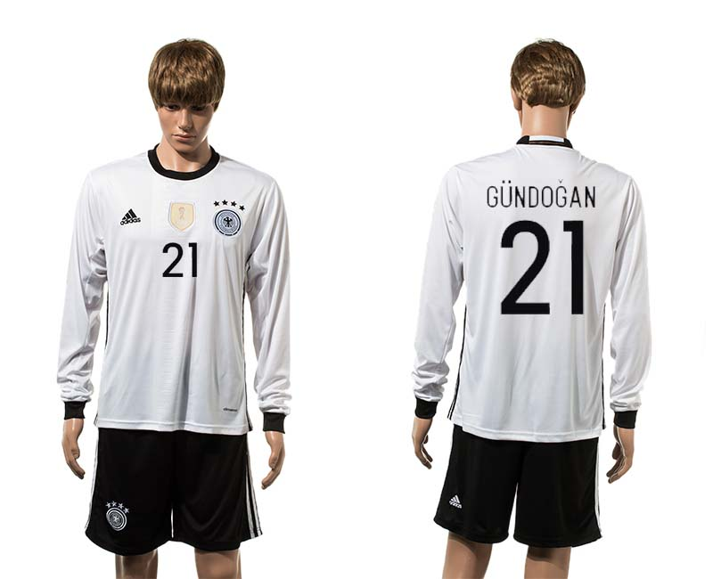 European Cup 2016 Germany home 21 Gundogan long sleeve soccer jerseys