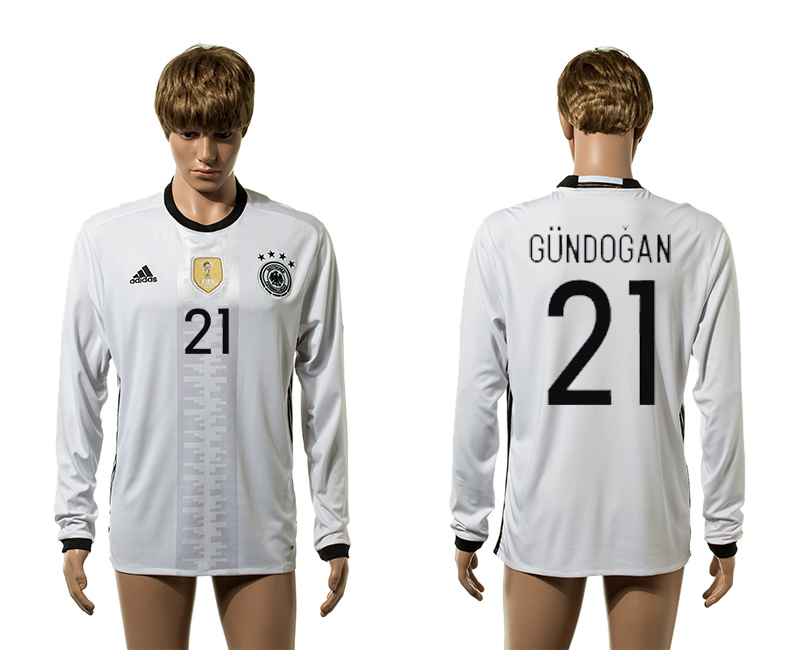 European Cup 2016 Germany home 21 Gundogan white long sleeve AAA+ soccer jerseys