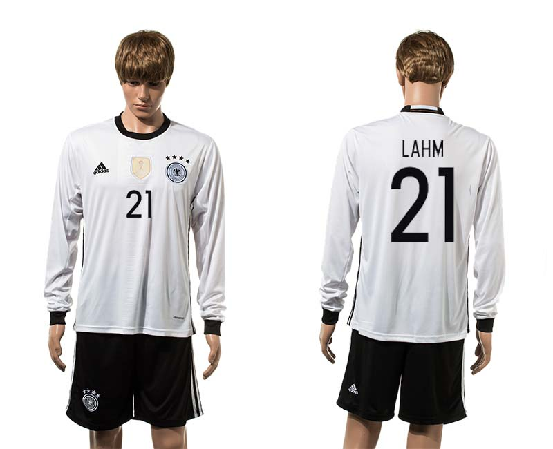 European Cup 2016 Germany home 21 Lahm white long sleeve soccer jerseys