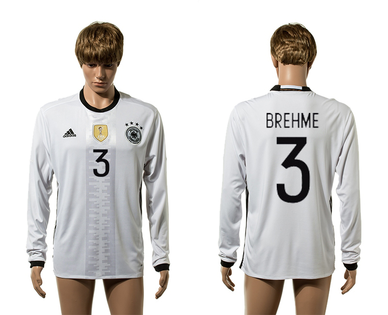 European Cup 2016 Germany home 3 Brehme white long sleeve AAA+ soccer jerseys