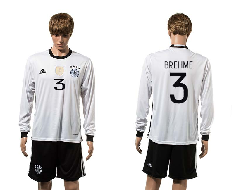 European Cup 2016 Germany home 3 Brehme white long sleeve soccer jerseys