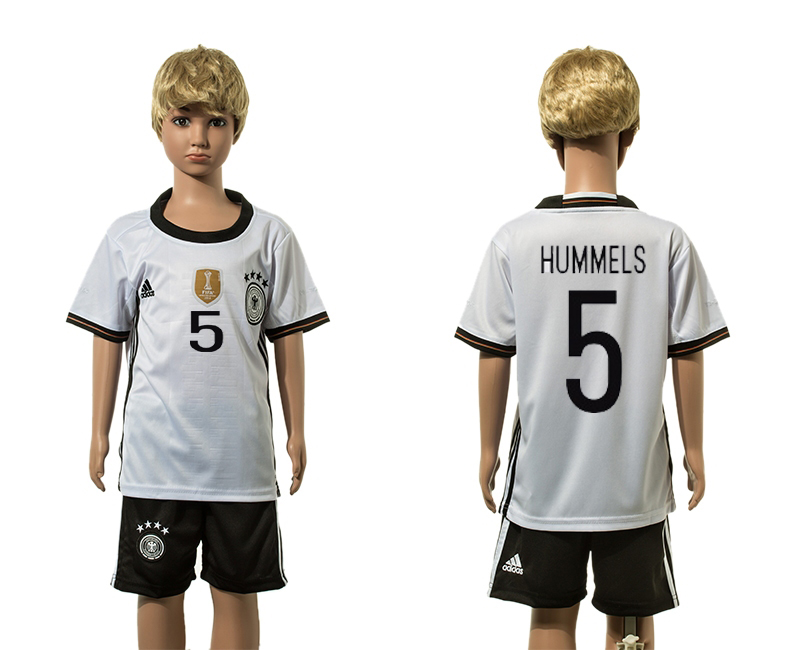 European Cup 2016 Germany home 5 Hummels white kids soccer jerseys