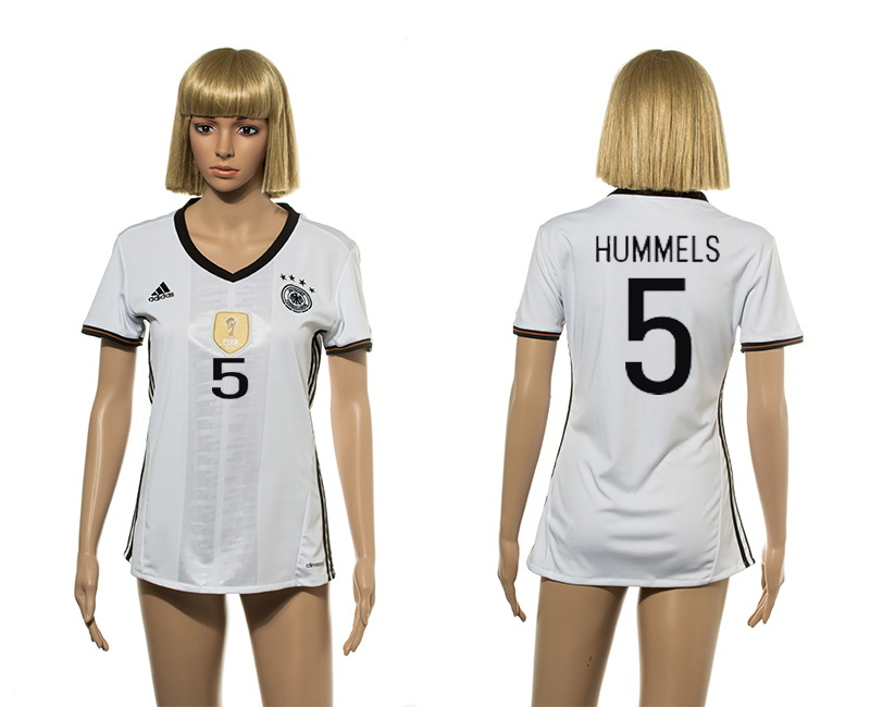 European Cup 2016 Germany home 5 Hummels white women soccer jerseys