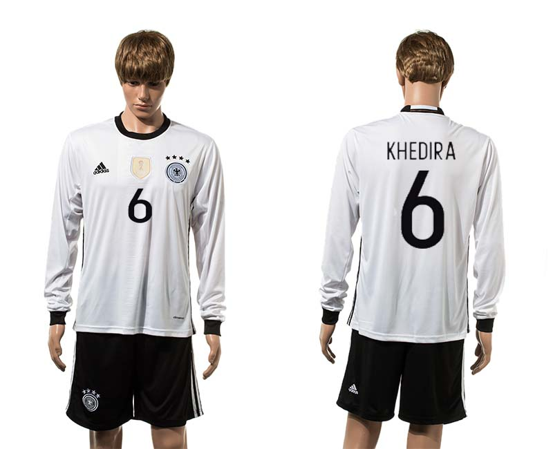 European Cup 2016 Germany home 6 Kheira white long sleeve soccer jerseys