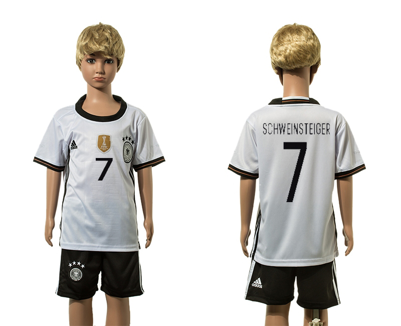 European Cup 2016 Germany home 7 Schweinsteiger white kids soccer jerseys