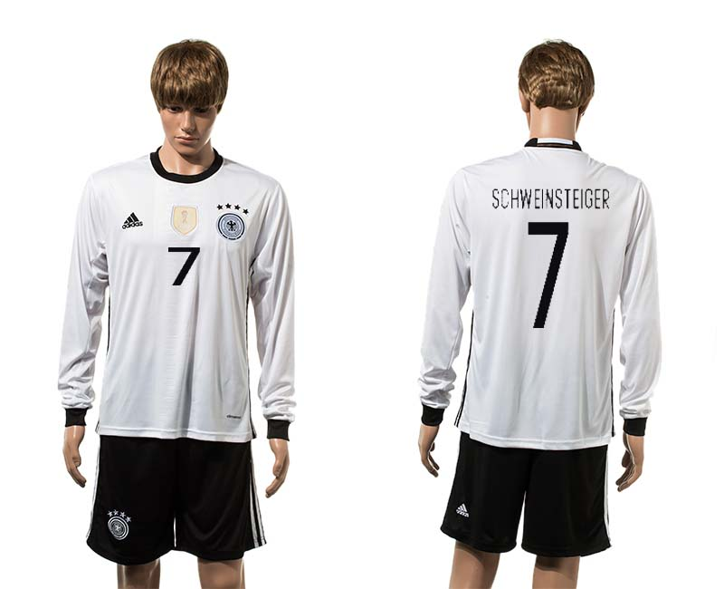 European Cup 2016 Germany home 7 Schweinsteiger white long sleeve soccer jerseys