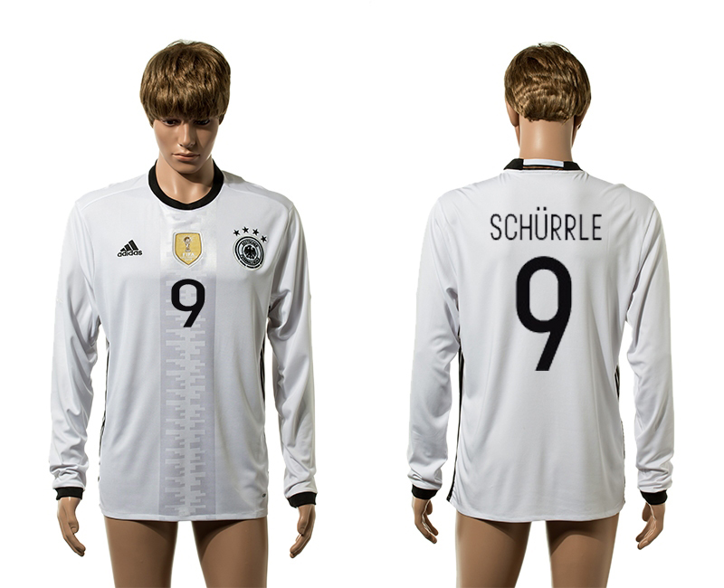 European Cup 2016 Germany home 9 Schurrle white long sleeve AAA+ soccer jerseys