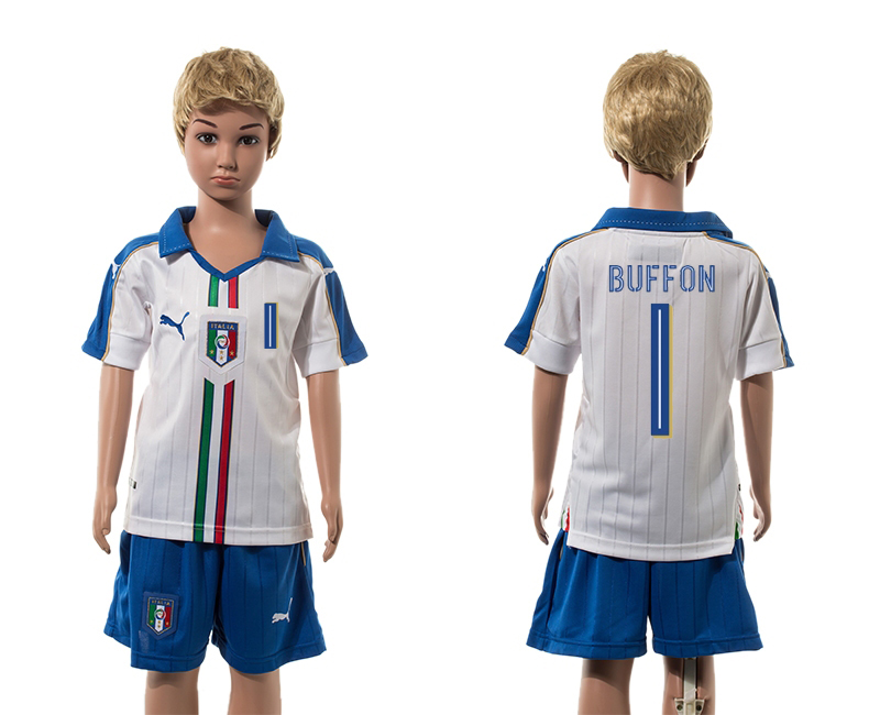 European Cup 2016 Italy away 1 Buffon white kids soccer jerseys