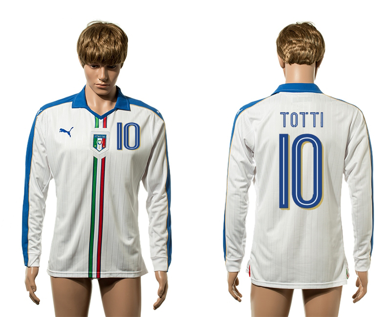 European Cup 2016 Italy away 10 Totti white long sleeve AAA+ soccer jerseys