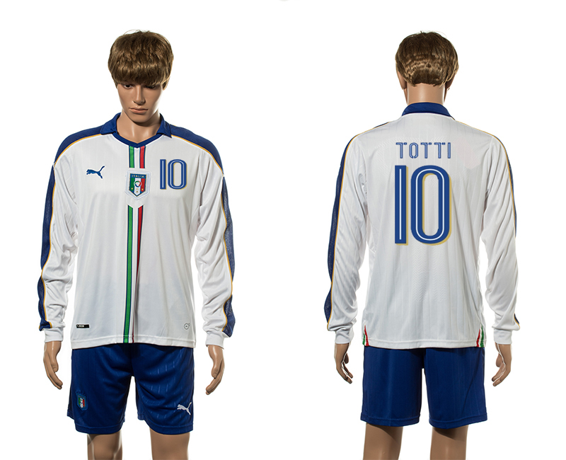 European Cup 2016 Italy away 10 Totti white long sleeve soccer jerseys