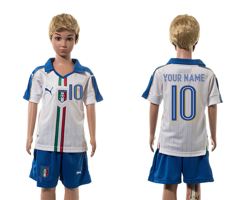 European Cup 2016 Italy away 10 customized white kids soccer jerseys