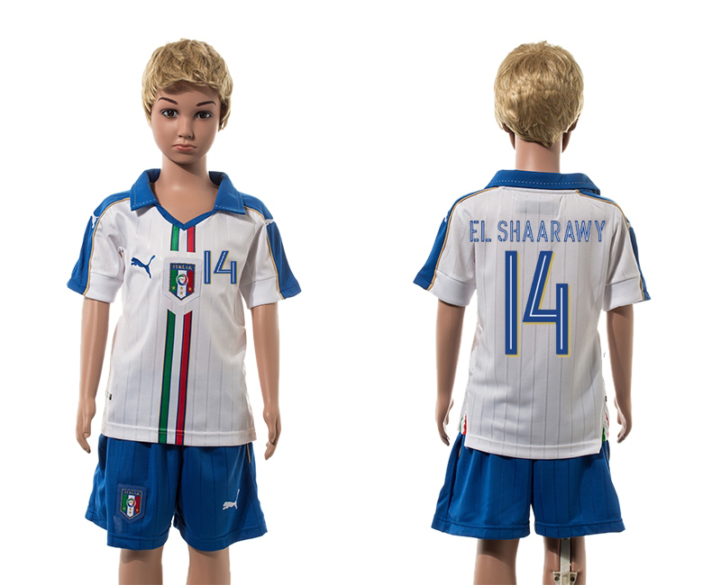 European Cup 2016 Italy away 14 El Shaarawy white kids soccer jerseys