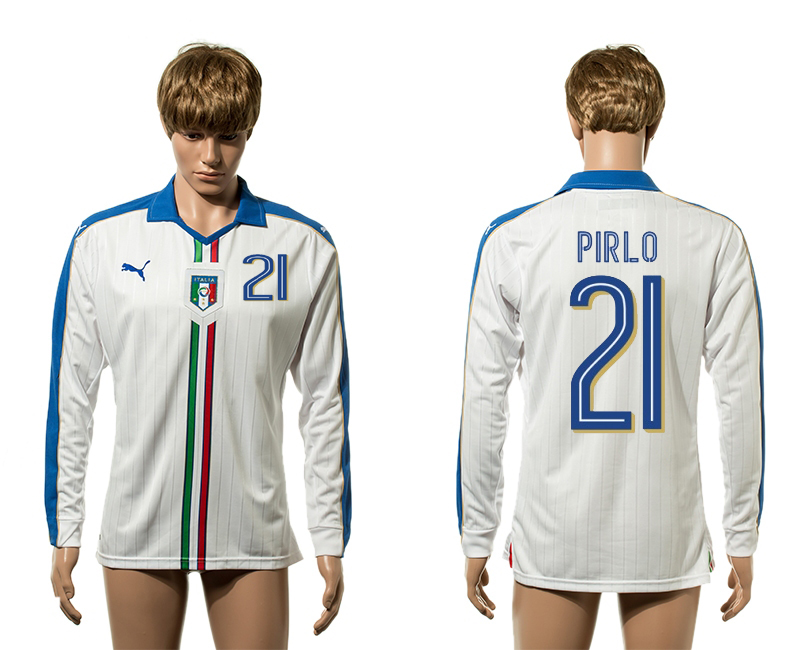 European Cup 2016 Italy away 21 Pirlo white long sleeve AAA+ soccer jerseys