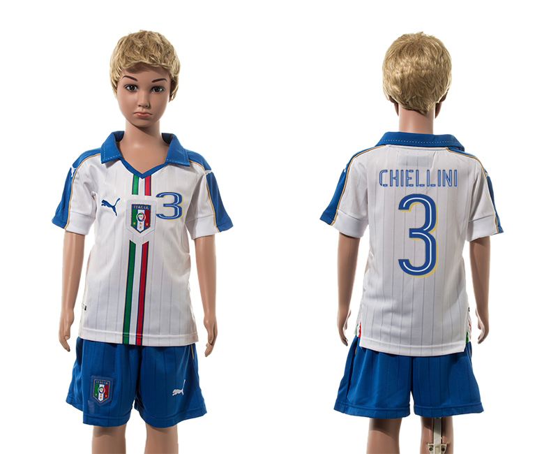 European Cup 2016 Italy away 3 Chiellini white kids soccer jerseys