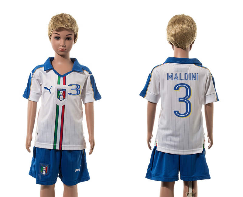 European Cup 2016 Italy away 3 Maldini white kids soccer jerseys