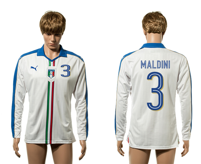 European Cup 2016 Italy away 3 Maldini white long sleeve AAA+ soccer jerseys