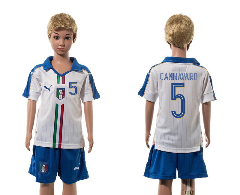 European Cup 2016 Italy away 5 Cannavaro white kids soccer jerseys