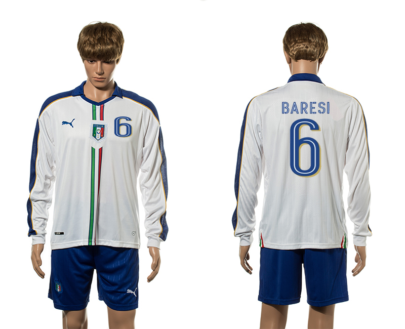 European Cup 2016 Italy away 6 Baresi white long sleeve soccer jerseys