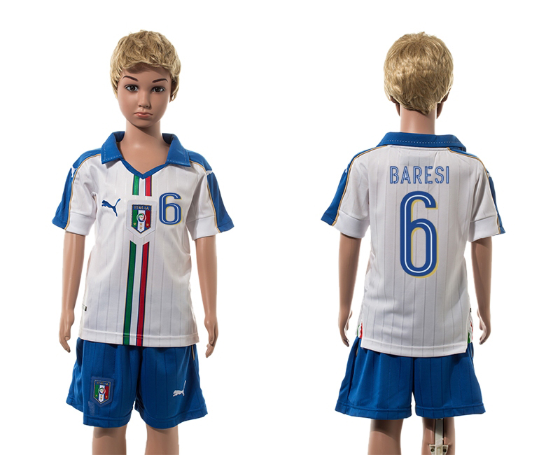 European Cup 2016 Italy away 6 Baresi white kids soccer jerseys