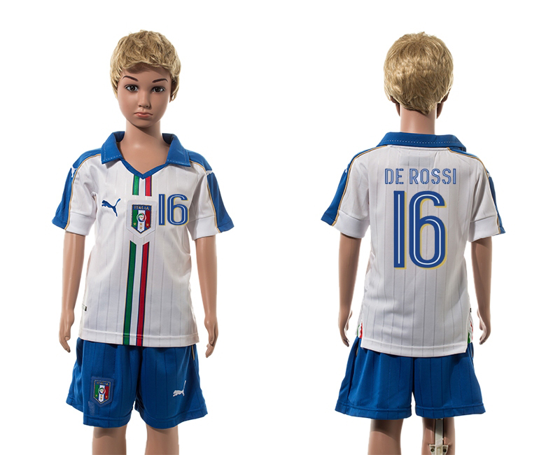 European Cup 2016 Italy away 6 De Rossi white kids soccer jerseys