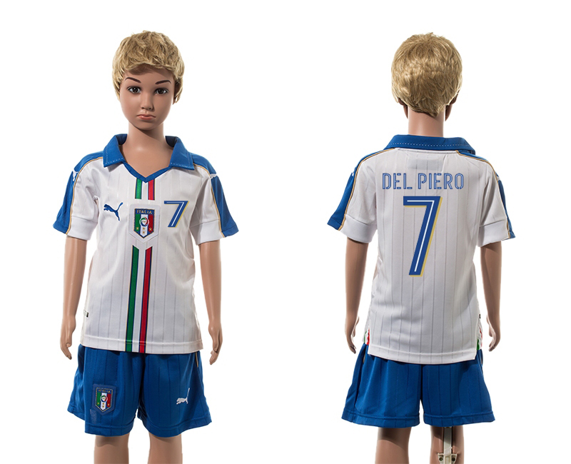 European Cup 2016 Italy away 7 Del Piero white kids soccer jerseys