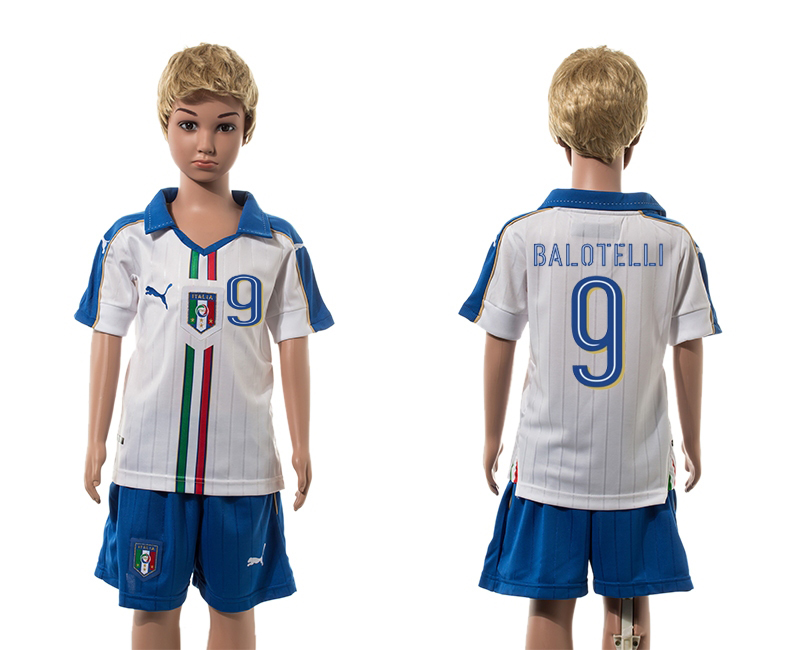 European Cup 2016 Italy away 9 Balotelli white kids soccer jerseys