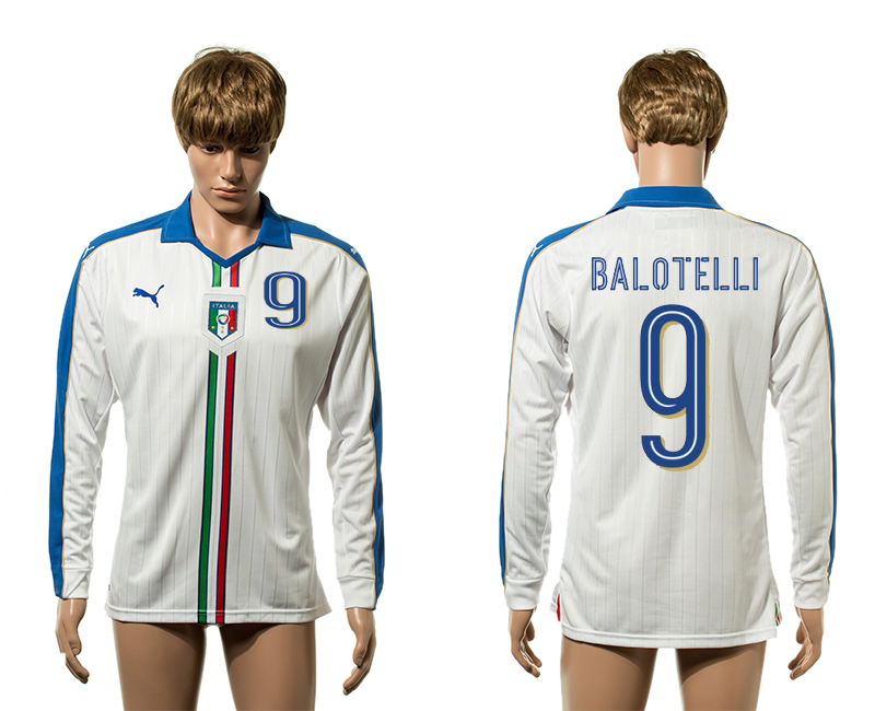 European Cup 2016 Italy away 9 Balotelli white long sleeve AAA+ soccer jerseys