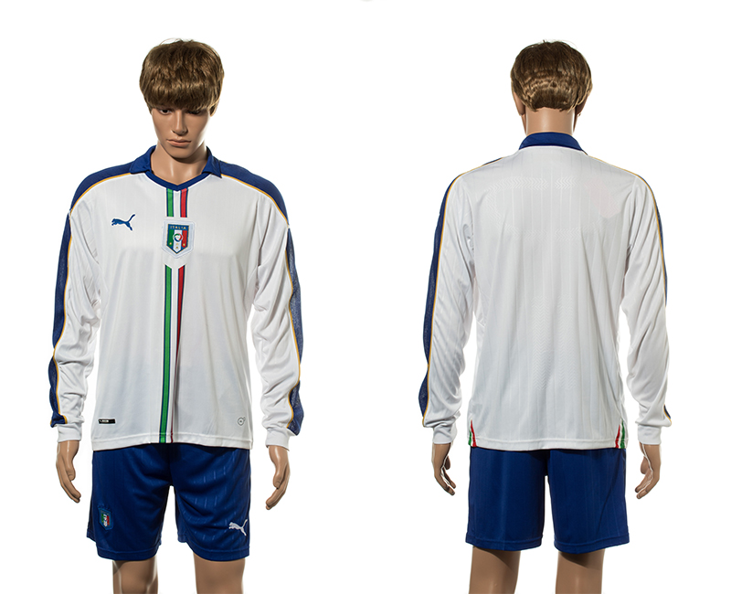 European Cup 2016 Italy away blank white long sleeve soccer jerseys