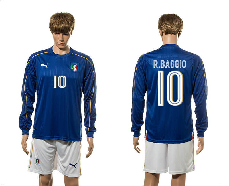 European Cup 2016 Italy home 10 R. Baggio blue long sleeve soccer jerseys