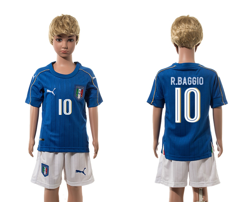 European Cup 2016 Italy home 10 R.Baggio blue kids soccer jerseys