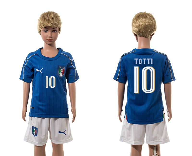 European Cup 2016 Italy home 10 Totti Blue kids soccer jerseys